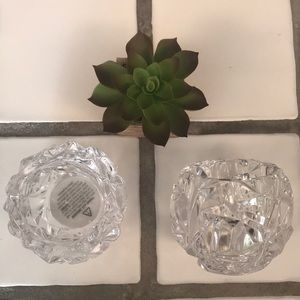 Tiffany & co rock cut crystal votives -set of 2